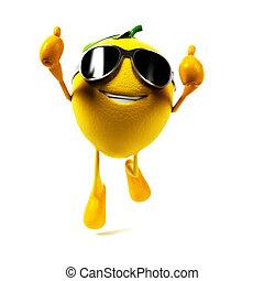 nourriture, caractère, -, citron