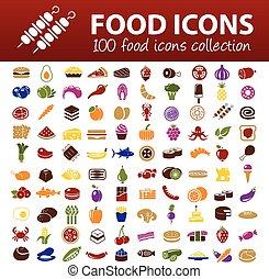 nourriture, cent, icônes