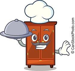 nourriture, chef cuistot, garde-robe, isolé, dessin animé
