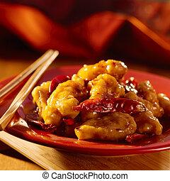 nourriture, chicken., tso's, chinois, -general