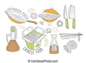 nourriture chinoise, étiquettes, collection, promo, frais