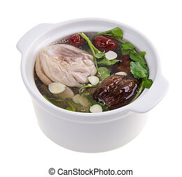 nourriture chinoise, aromate, soupe, poulet, style.