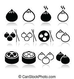 nourriture chinoise, boulettes, asiatique