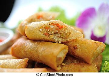 nourriture chinoise, printemps, traditionnel, frit, rouleaux