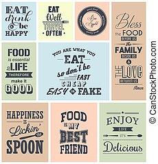nourriture, citations, ensemble, typographique, vendange
