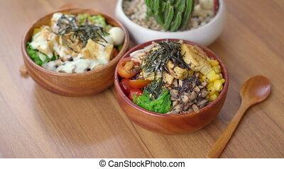 nourriture, closeup, table., bois, poussée, bols, healthy., deux, branché, concept, coup, jeûne