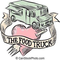 nourriture, coeur, fourchette, camion, graver