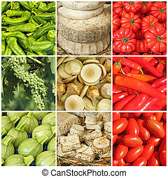 nourriture, collage, drapeau italien, couleurs