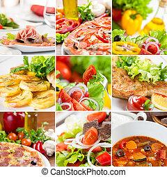 nourriture, collage, européen