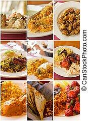 nourriture, collage, indien