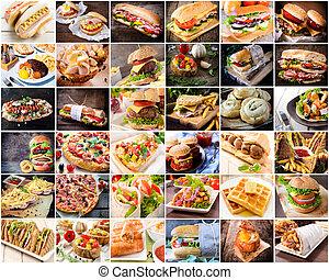 nourriture, collage, jonque
