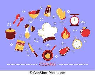 nourriture, concept., cuisine, idée, préparer, cuisine