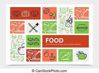 nourriture, concept, infographic