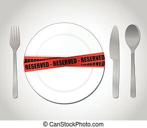 nourriture, concept, reserved., illustration, restaurant