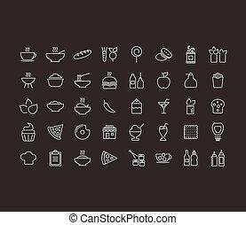 nourriture, contour, icône