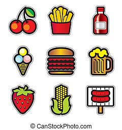 nourriture, contur, icônes