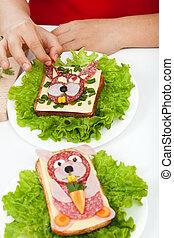 nourriture, -, créatif, décoration, sandwichs, créature