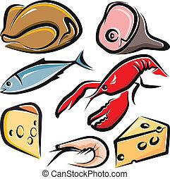 nourriture, cru, ensemble, illustration