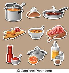 nourriture, cuisine, autocollants