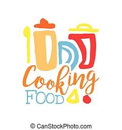 nourriture, cuisine, club, gabarit, logo, pots, cuisine