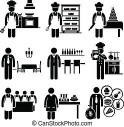 nourriture, culinaire, travaux, métiers
