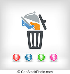 nourriture, déchets ménagers, icône
