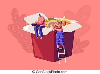 nourriture, déjeuner, dessin animé, restaurant, boîte, vecteur, minuscule, plat, traditionnel, repas, concept., avoir, wok, chinois, homme asiatique, nouilles, séance, gens, énorme, plat à emporter, illustration, femme, vegetables., fastfood