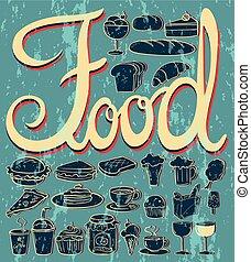nourriture, desserts, différent, espèce