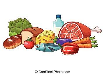 nourriture, dessin animé, délicieux
