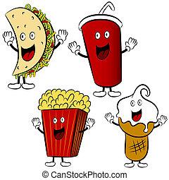 nourriture, dessin animé, traiter, jeûne, mascottes