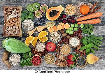 nourriture, diététique, santé, fibre, élevé