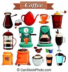 nourriture, différent, ensemble, café, produit