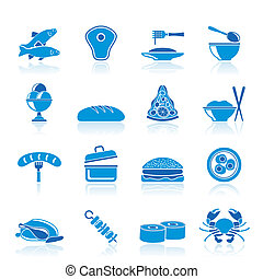 nourriture, différent, espèce, icônes