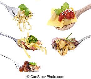nourriture, différent, fourchettes