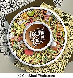 nourriture, doodles, café, régime, tasse