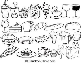 nourriture, doodles