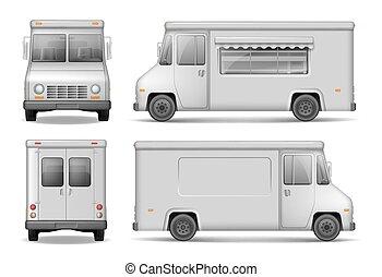 nourriture, dos, livraison, white., vecteur, fourgon, isolé, devant, côté, camion, argent, vue., service, facile, voiture, advertising., gabarit, éditer, recolor.