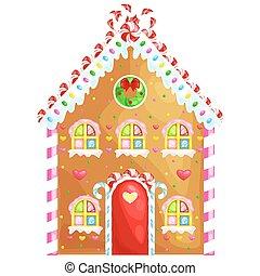 nourriture douce, maison, traditionnel, fait maison, bonbon, hiver, illustration, vacances, noël, pain épice, vecteur, décoré, sugar., glaçage, biscuits, noël, cuit