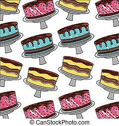 nourriture, doux, couleur, anniversaire, délicieux, dessert, gâteau, modèle, dessin