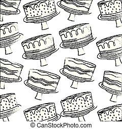 nourriture, doux, main, anniversaire, délicieux, dessert, gâteau, modèle, dessin