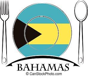 nourriture, drapeau bahamas, fait, logo