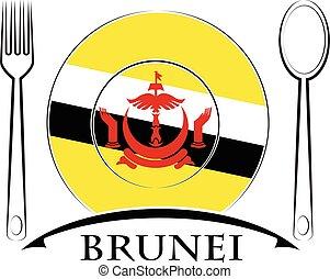 nourriture, drapeau brunei, fait, logo