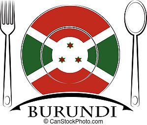 nourriture, drapeau burundi, fait, logo