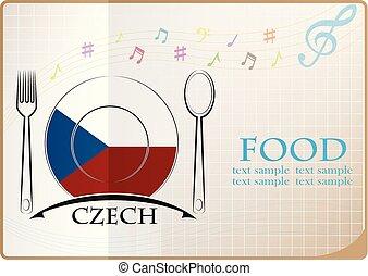 nourriture, drapeau tchèque, fait, logo