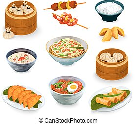 nourriture, ensemble, asiatique