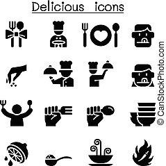 nourriture, ensemble, délicieux, icône