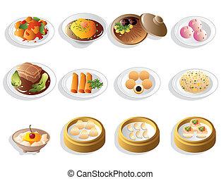 nourriture, ensemble, dessin animé, chinois, icône