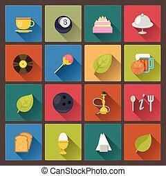 nourriture, ensemble, divertissement, icônes
