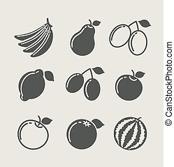 nourriture, ensemble, fruit, icône