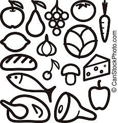 nourriture, ensemble, ingrédient